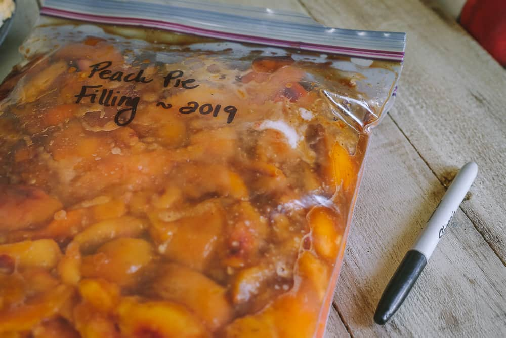 homemade peach pie filling for the freezer