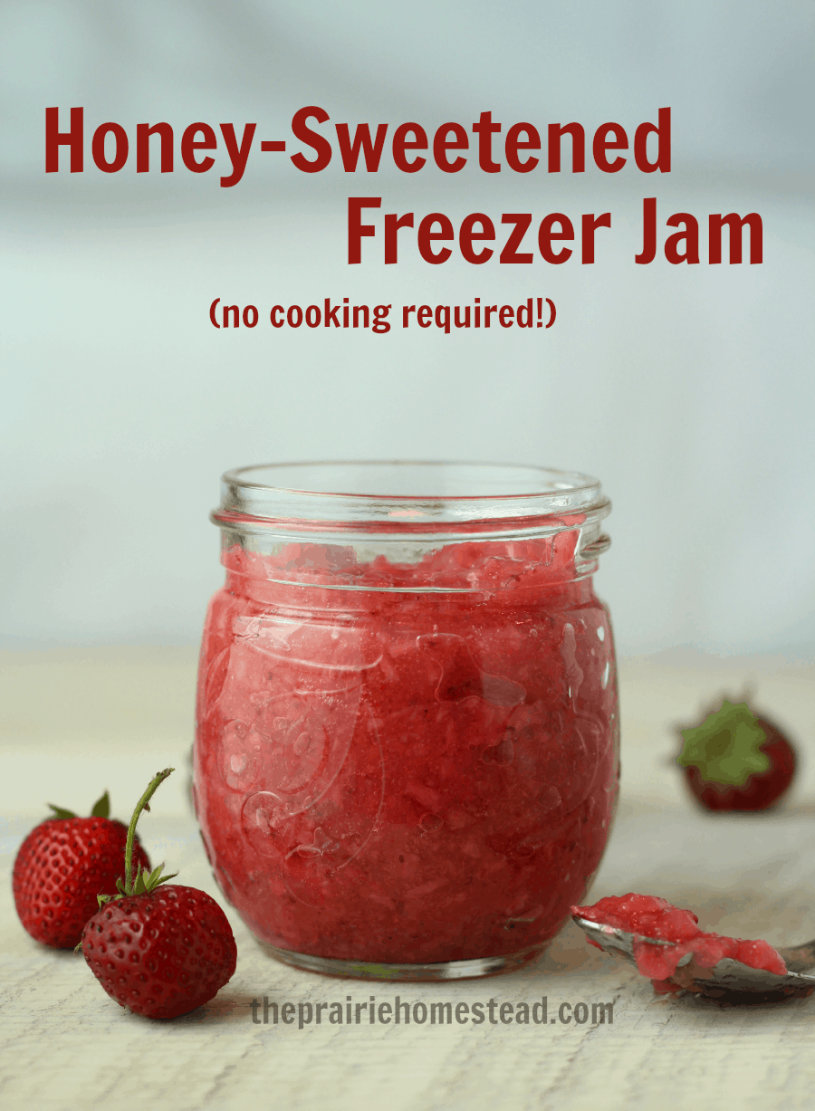 No-Cook Strawberry Freezer Jam with Raw Honey