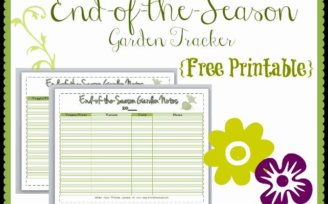 {Free Printable} End-of-the-Season Garden Tracker