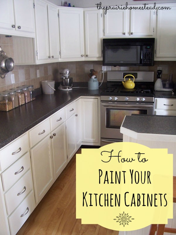 How to paint your kitchen cabinets the prairie homestead for How to paint white cabinets