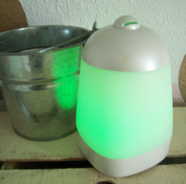 My SpaVapor diffuser- it changes colors as it runs.