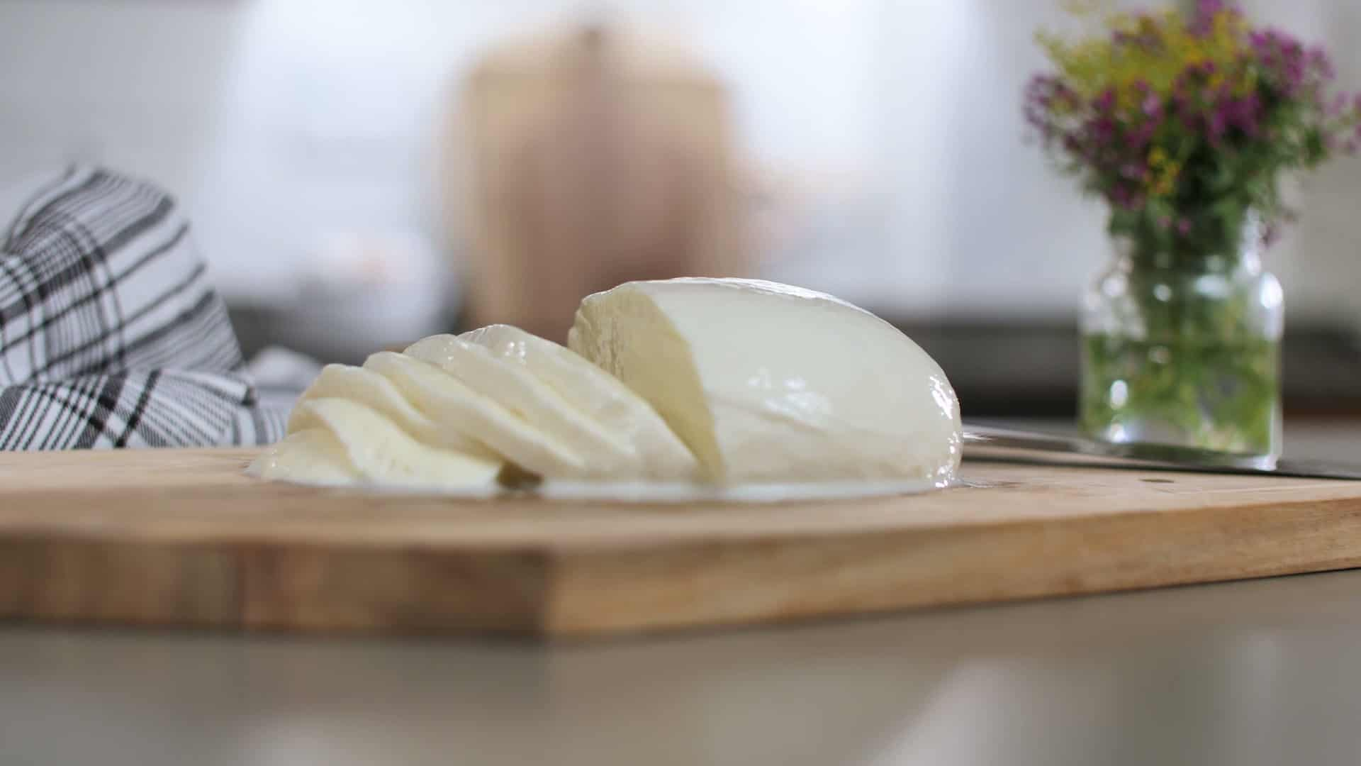 Beautiful homemade mozzarella cheese