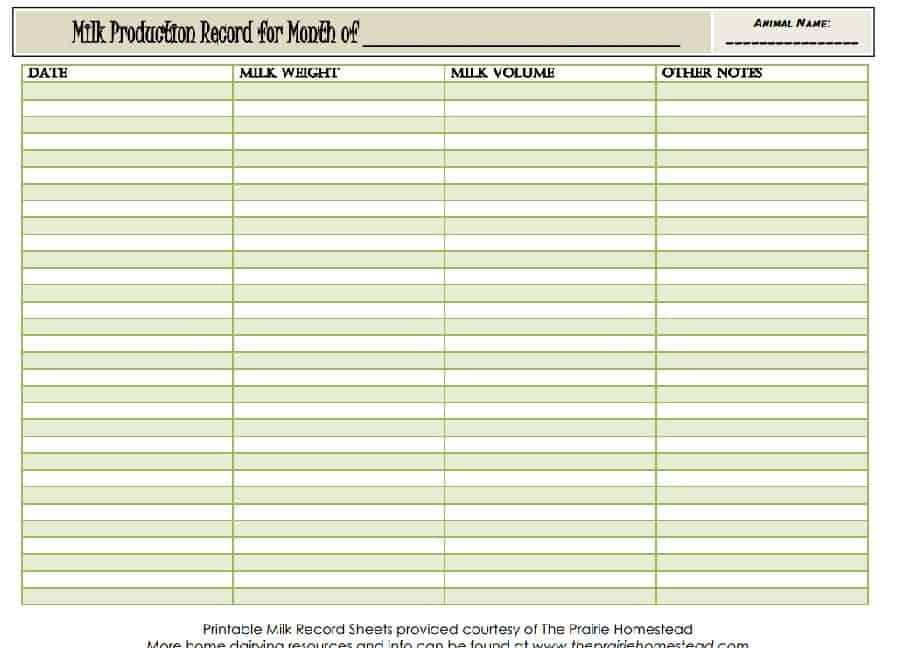printable milk record sheet