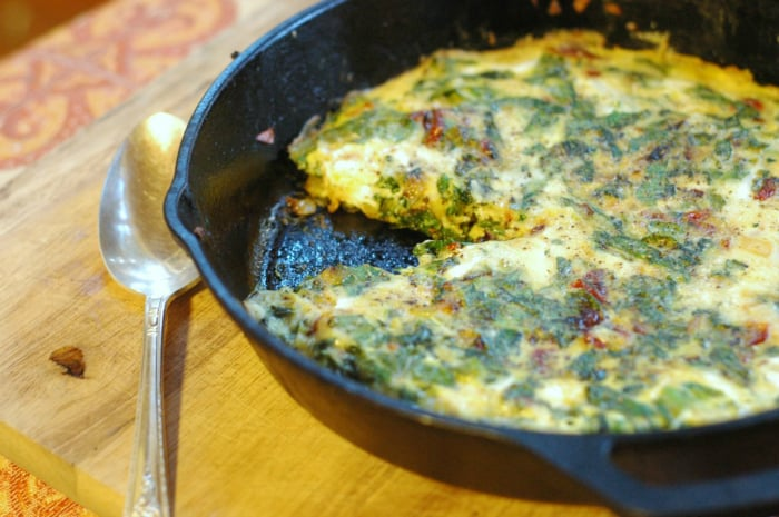 Parmesan Frittata with Rosemary and Greens