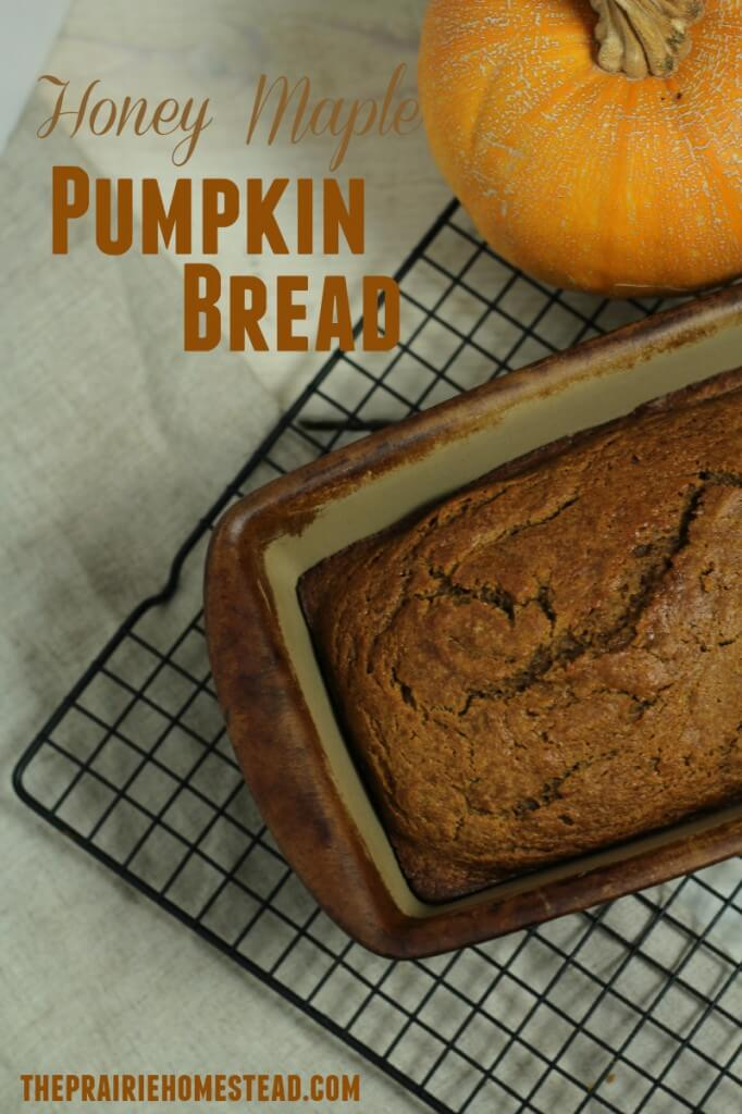 A wholesome pumpkin bread recipe made with maple syrup and honey instead of refined sugar!
