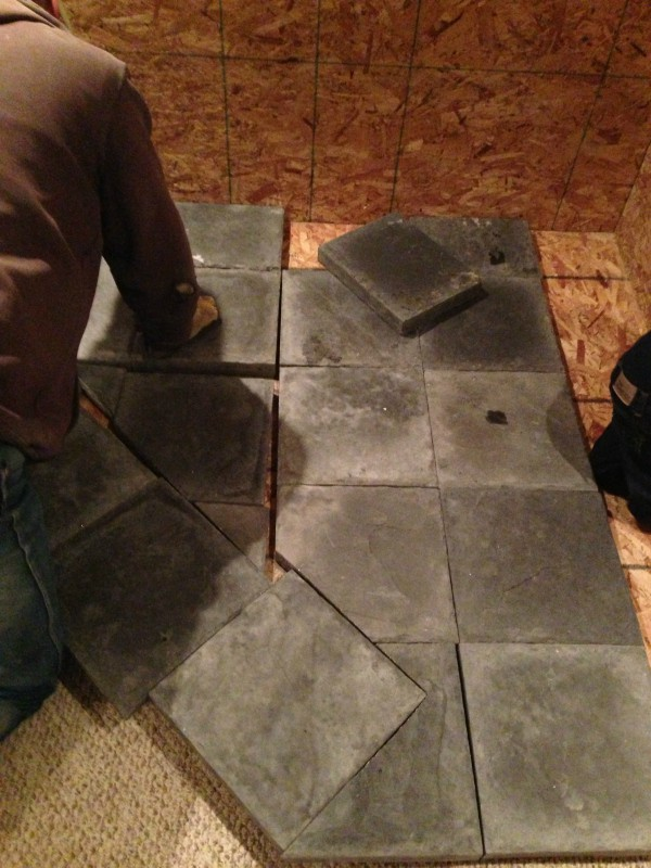 We covered the base with heavy stone pavers (the kind that folks use to  make a path in their yard) for the base. Hubby took care all of the  measuring and ... - Our DIY Wood Stove Installation €� The Prairie Homestead