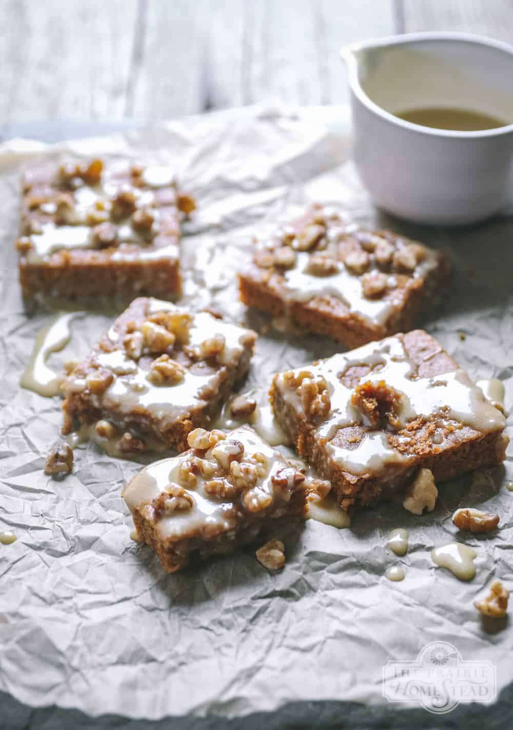 Maple Walnut Blondies with Maple Butter Sauce