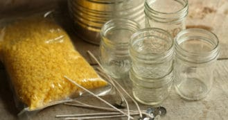 how to make beeswax candles in mason jars