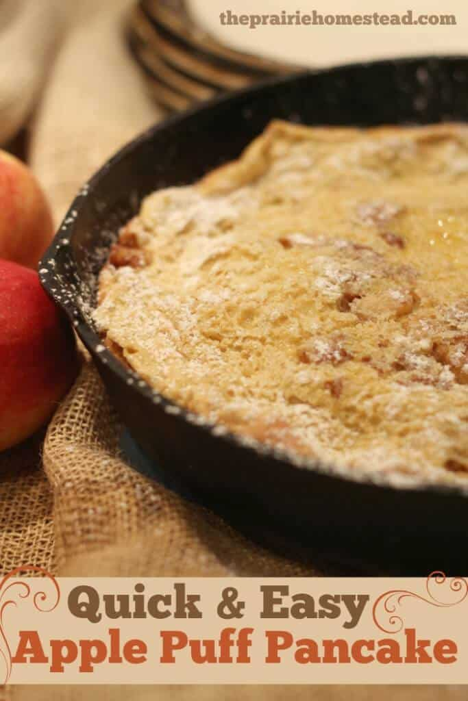 Quick and Easy Apple Puff Pancake Recipe #Pancakes #PancakeBreakfast | The Prairie Homestead