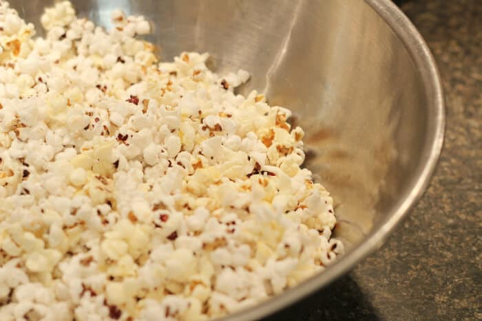 Popcorn ready for the caramel