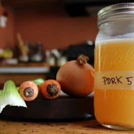 homemade pork broth from pork bones