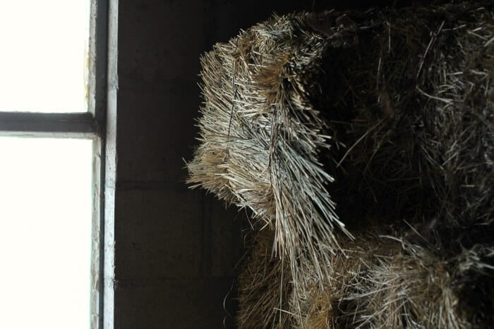 bales of hay in barn