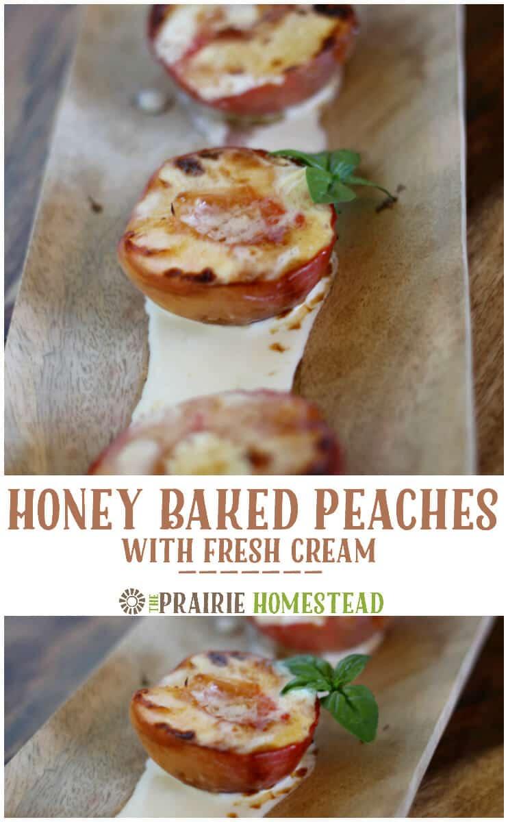 honey baked peaches with cream