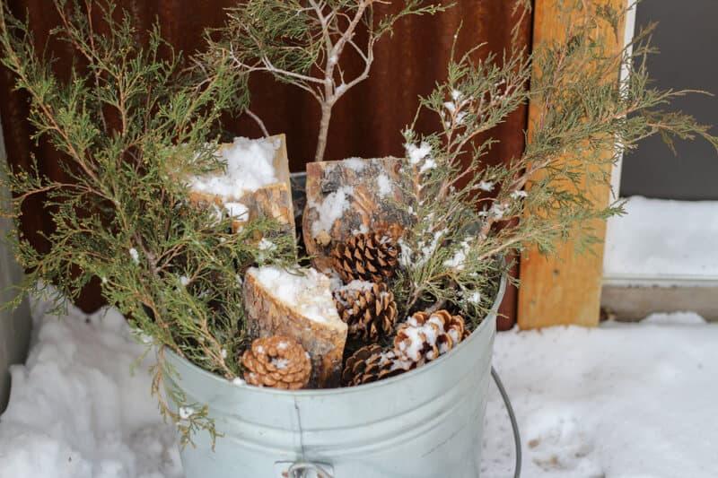 rustic natural bucket christmas porch