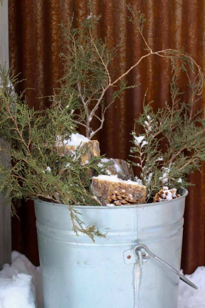 rustic natural bucket christmas porch