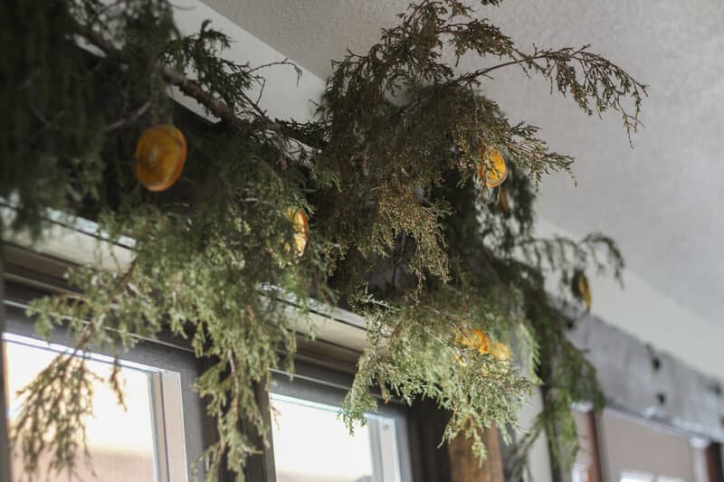 rustic homemade garland from real greenery