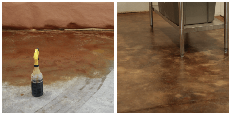 How to acid stain concrete floors the prairie homestead for Getting stains off concrete