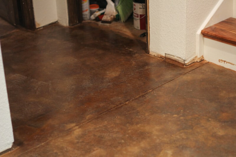 acid stain concrete floor two colors stained floors cost vs tile pros and cons