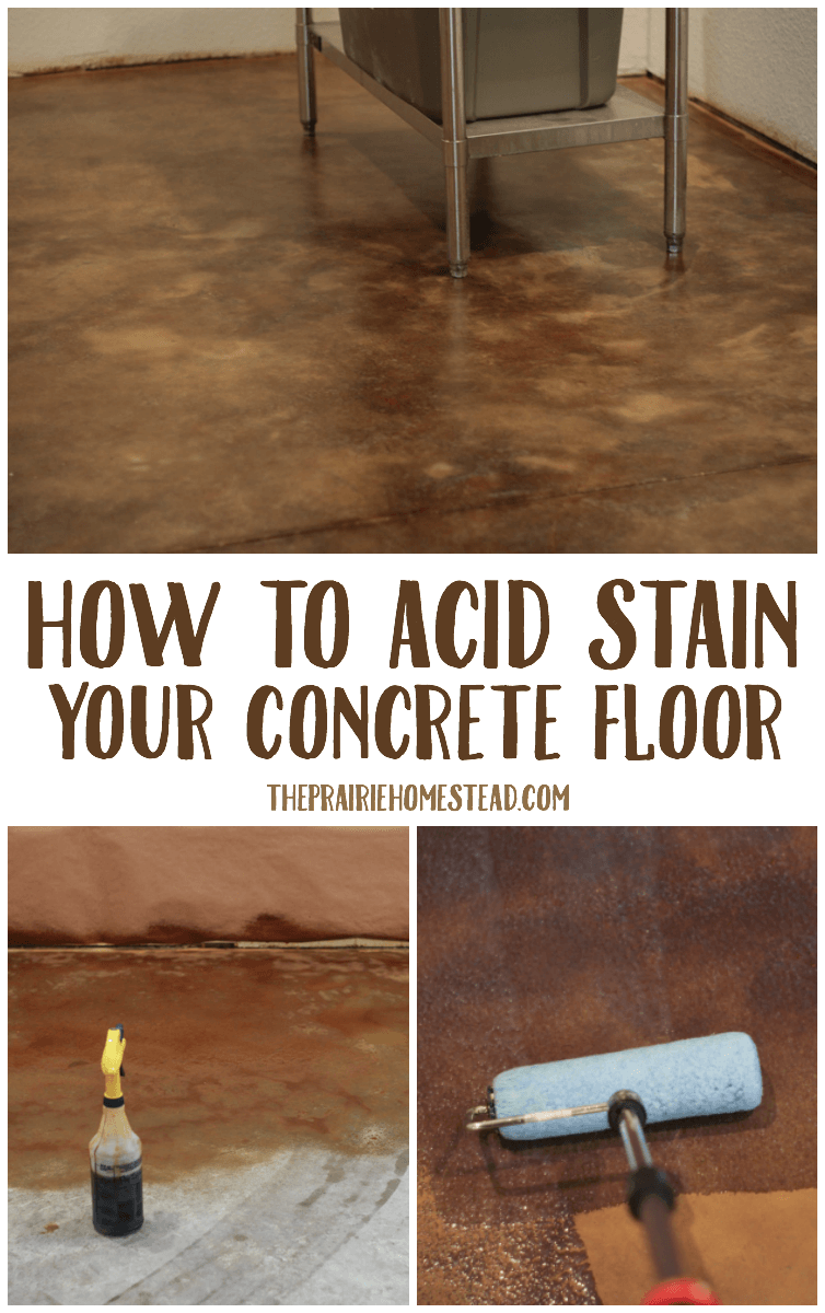 how to DIY acid stain an concrete floor, from start to finish