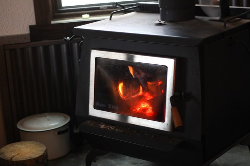 blazing fire in wood stove