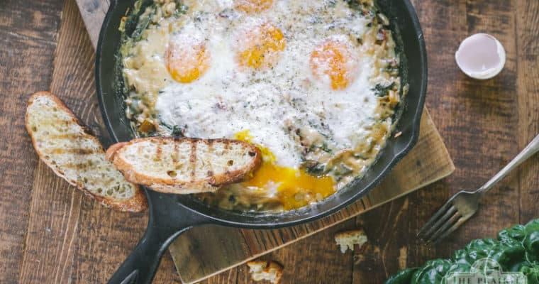 Creamed Chard and Eggs Skillet