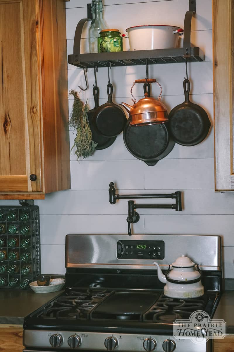 farmhouse kitchen pot rack