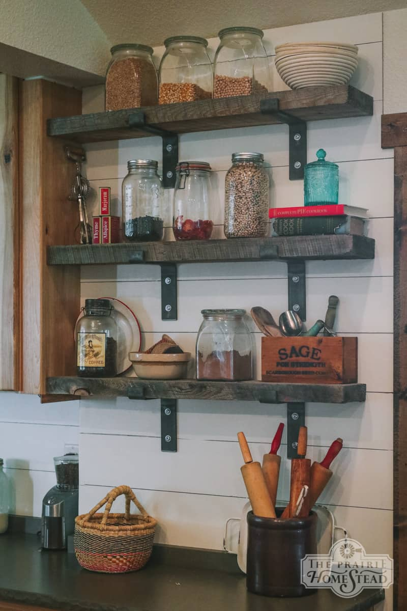 open shelves farmhouse kitchen