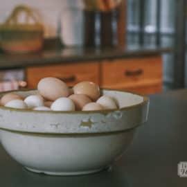 bowl of eggs farmhouse kitchen