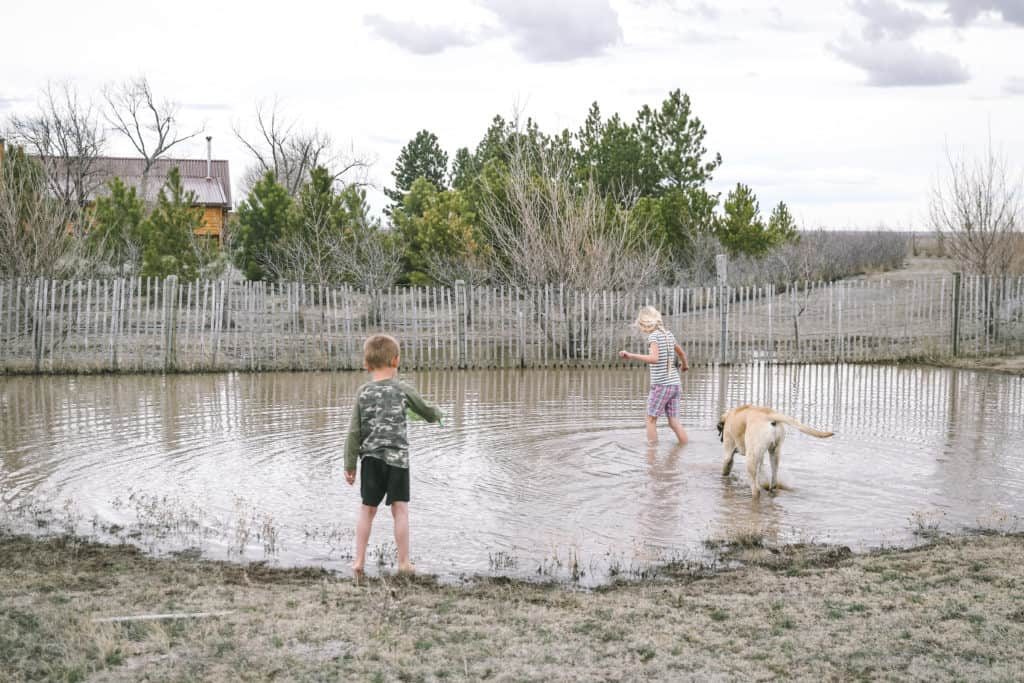 country kids in mud puddle