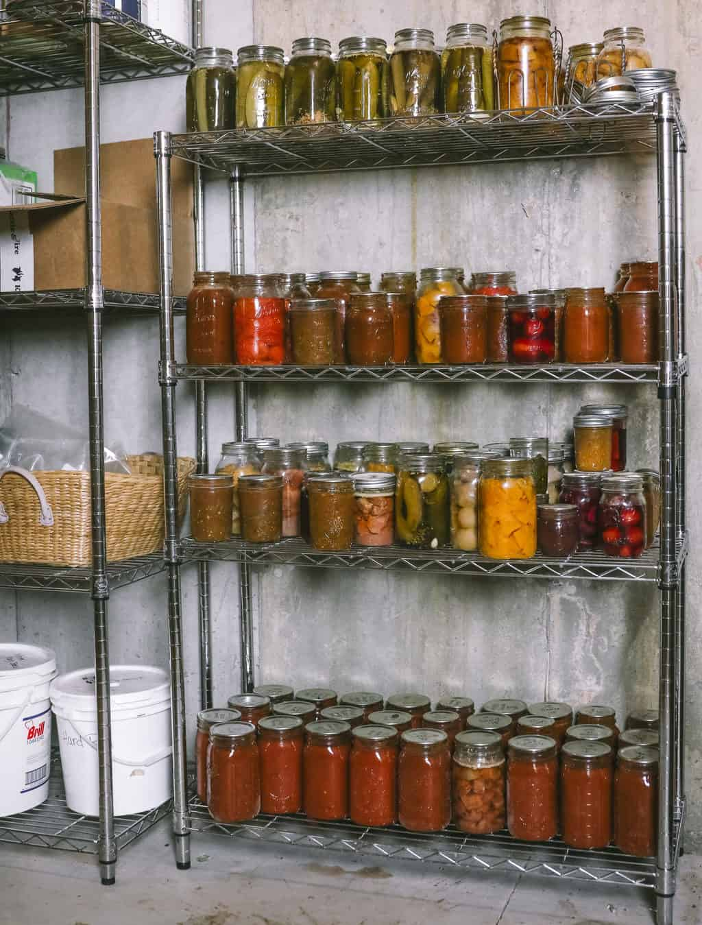 pantry of home canned food