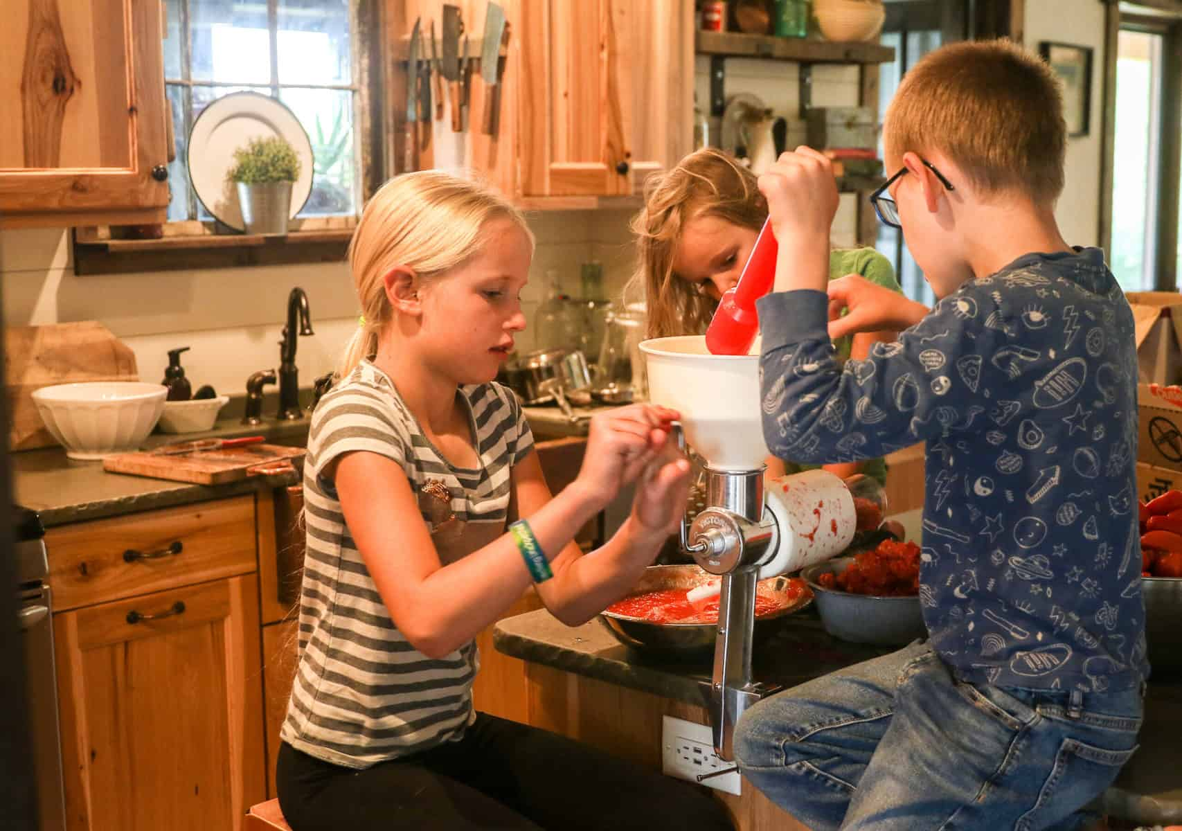 Homesteading with Kids Making Tomato Sauce